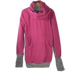 Lululemon Girls Ivivva Shawl Hoodie Grey Stripe Velvet Size 12 Pullover